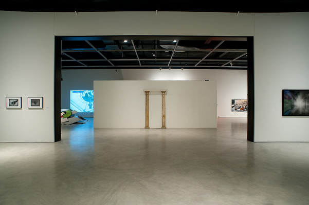 works by Douglas Walker (extreme right and left) and works by Jamelie Hassan (centre)