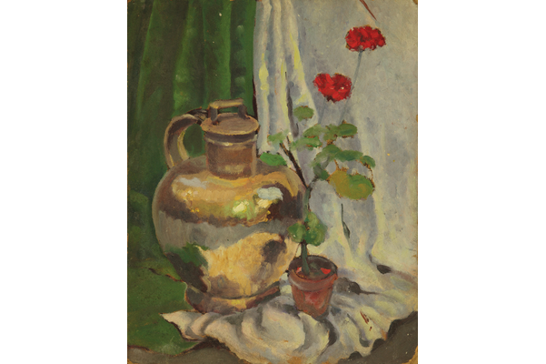 Untitled (Jug and red geraniums)