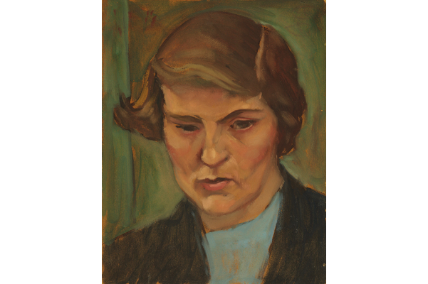 Untitled (Portrait of a woman with blue shirt and