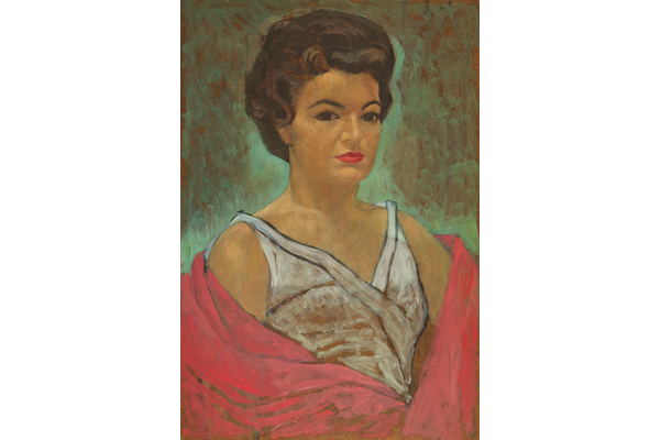 Untitled (Portrait of a woman with red shawl)