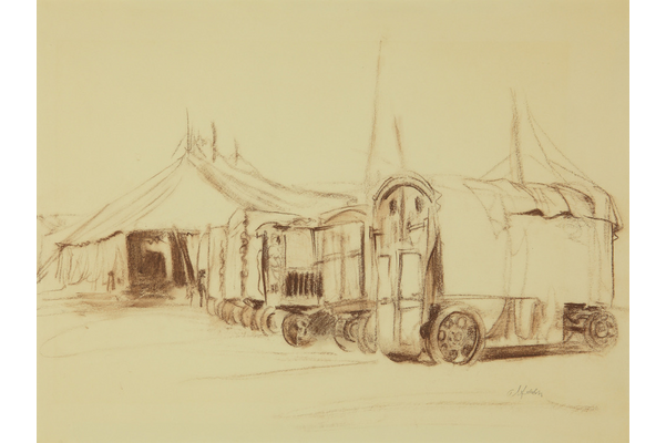 Untitled (Tent with circus wagons)
