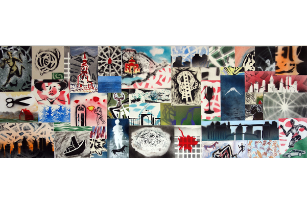 Joseph Muscat,Graphic Chat #24 Dans les vapes / Mass Distraction, 2020, acrylic and enamel on paper on board,60 x 165 cm