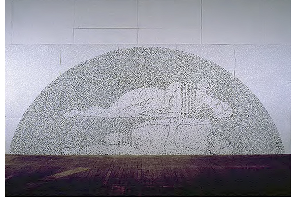 Paul Walty,Tumulus / Les Disparus / Prints of Darkness, 1989,acrylic on cardstock,560 x 210 cm,Collection of the artist