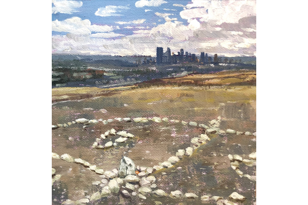 Sabine Lecorre Moore, Siksikaitsitapi Medicine Wheel, Nose Hill Park Calgary, dedicated to Elder Andrew Black Water, 2020, oil on canvas, 17.78 x 17.78 cm, Photo Credit SLM