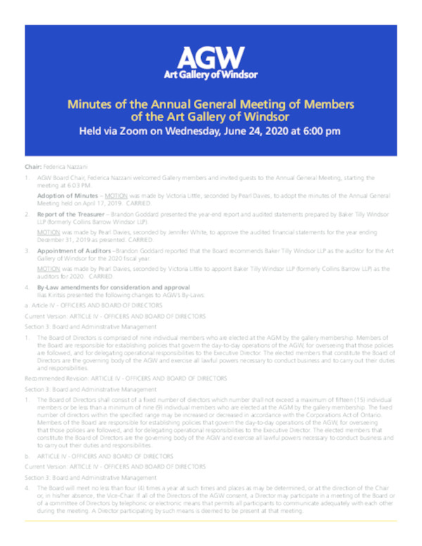 AGM 2020 Past Minutes